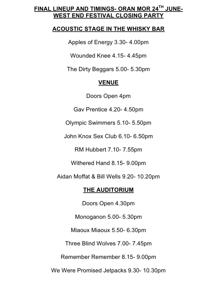 We Were Promised Jetpacks, Oran Mor - Lineup and Timings